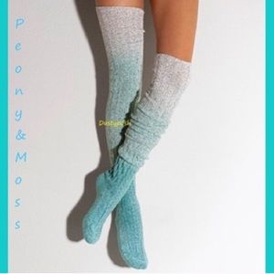 Peony and Moss Thigh High Over The Knee Socks Blue